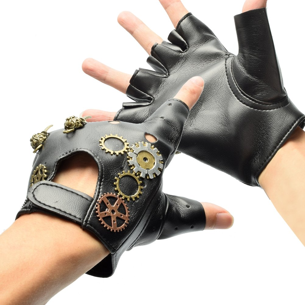 BLESSUME Gothic Punk Fingerless Gloves Gears Mittens