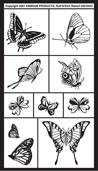Assorted Butterflies 5-Inch by 8-Inch Armour Products Etch Rub N Etch Stencil
