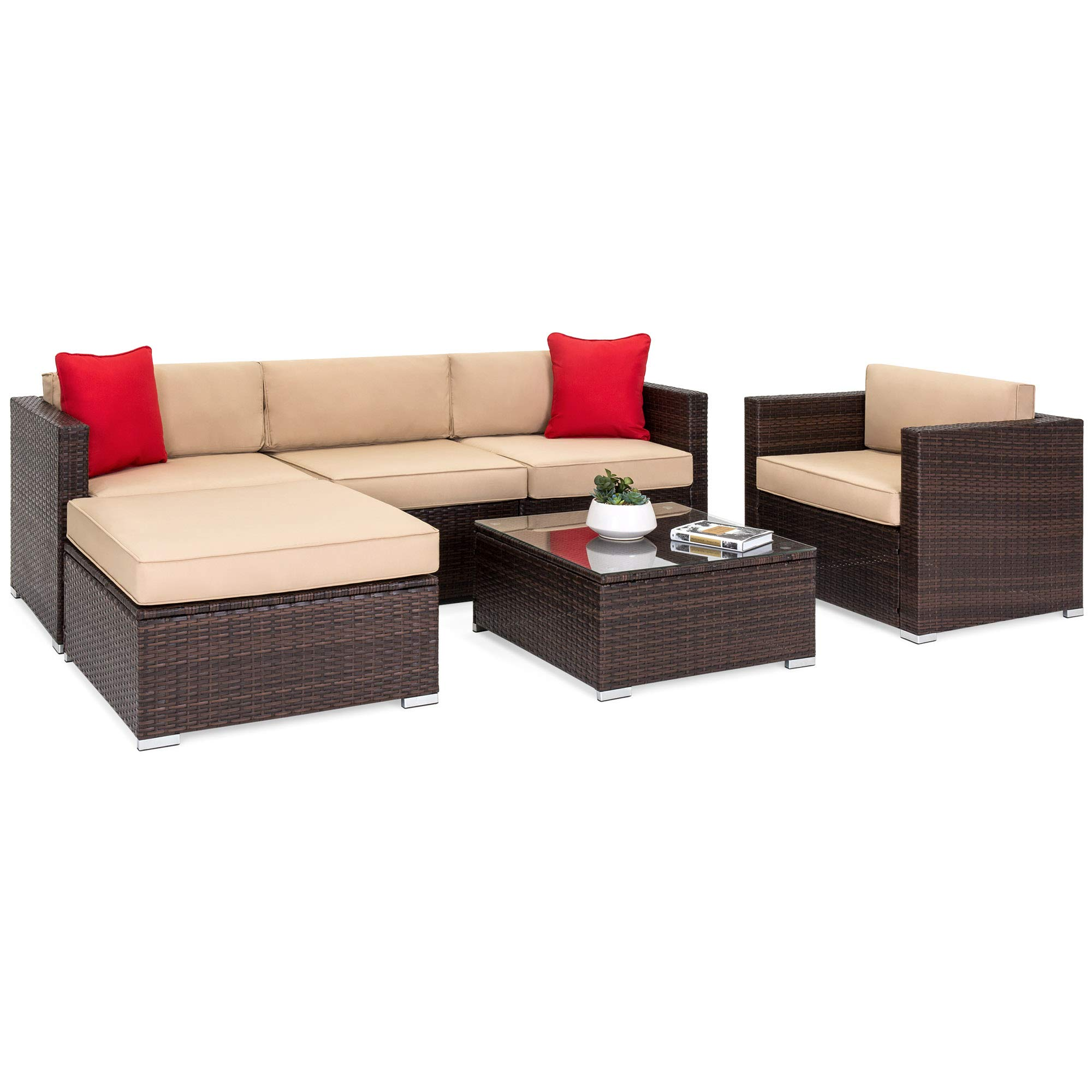 Best Choice Products 6-Piece Outdoor Patio Sectional Wicker Furniture Set with Sofa, Seat Cushions, Accent Chair, Ottoman, Glass Coffee Table and 2 Red Pillows for Backyard, Pool, Garden, Brown
