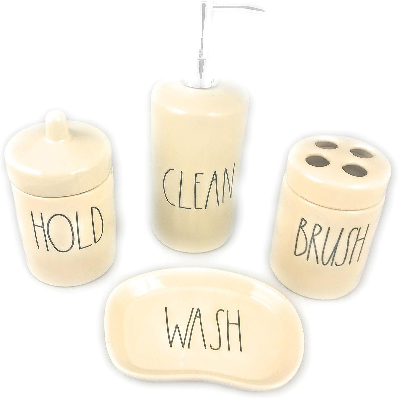 SOAP HOLD KEEP BRUSH THINGS Rae Dunn Bathroom Accessories WASH CLEAN