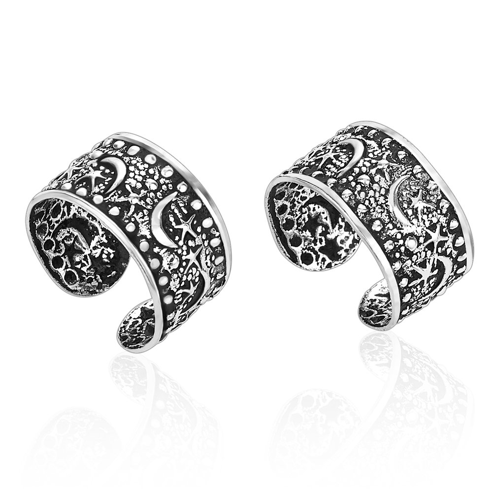 925 Sterling Silver Moon & Stars No Pierce Band Ear Cuff Wrap Earrings Set of Two (2), 6x11mm