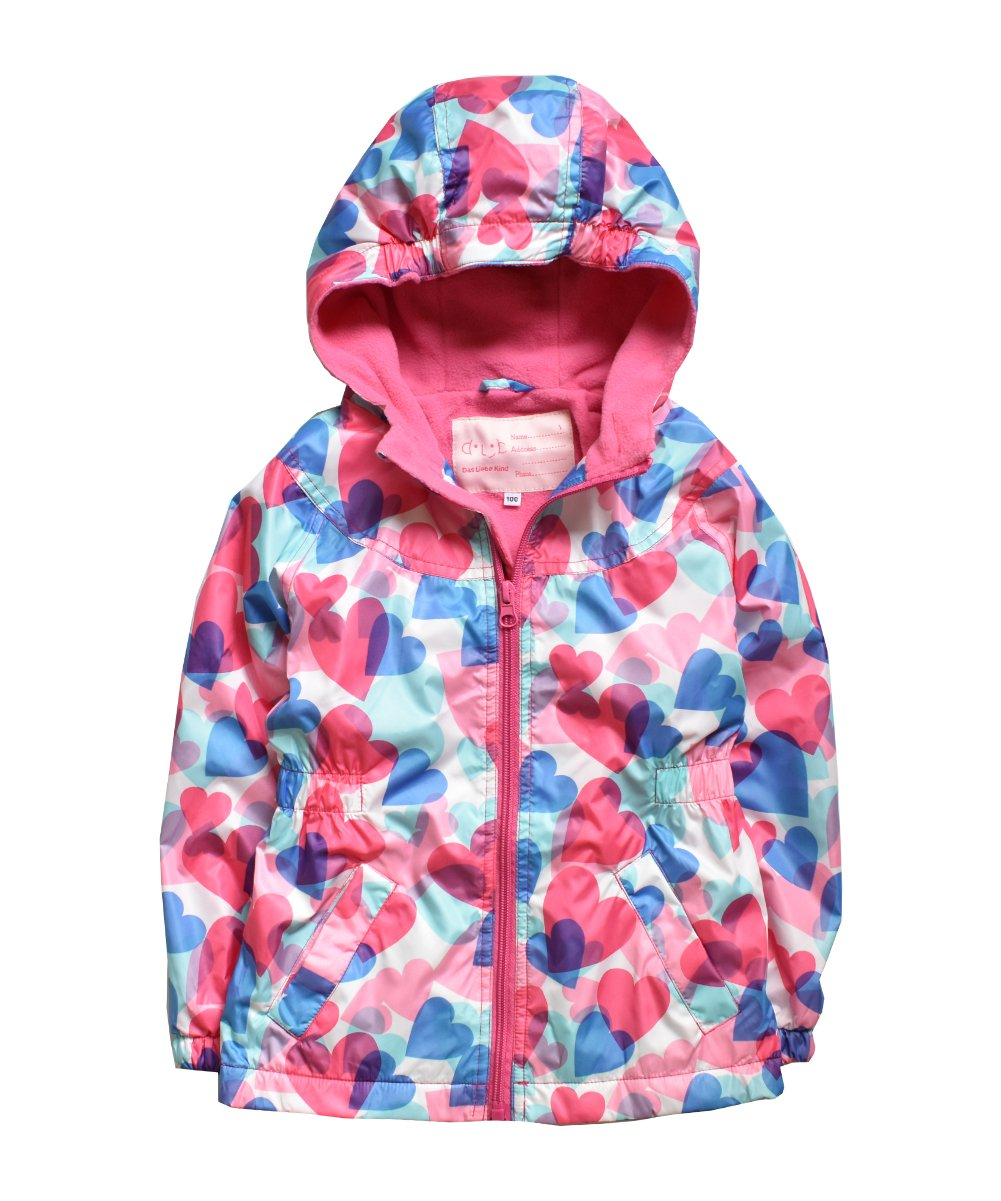Hiheart Girls Hooded Fleece Lined Active Jacket Outdoor Waterproof Coat Pink IGJP13USA