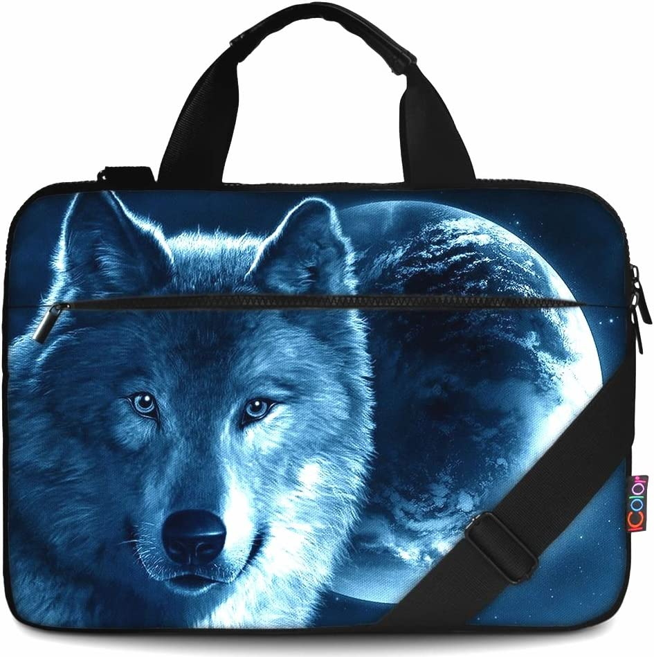 "iColor 14"" 15 15.4-inch Laptop Shoulder-Bag - Canvas Computer Tablet Protective Carrying Case 14-15.6 inch Notebook Briefcase with Handle Compatible Chromebook MacBook Pro HP (14""~15.6"", Cool Wolf)"
