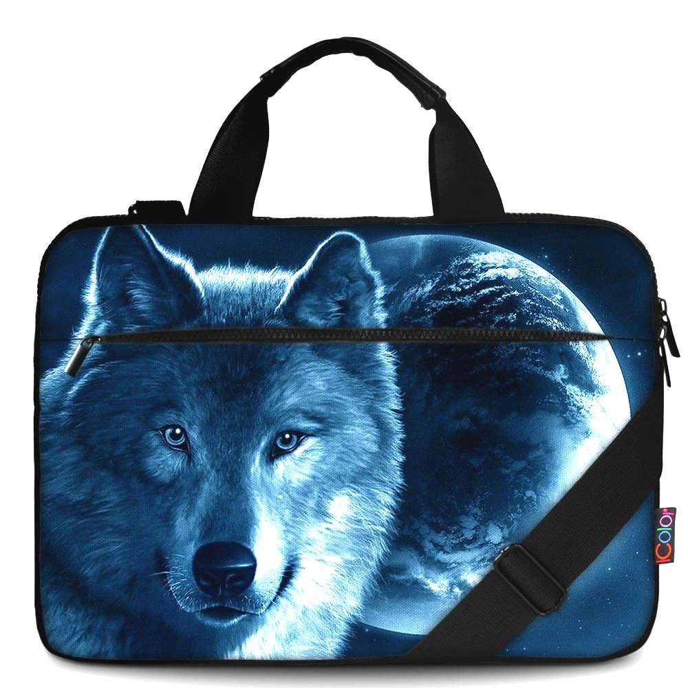 iColor 15'' Canvas Laptop Shoulder Messenger Bags 14'' 15.4 Inch Briefcase 15.6'' Computer PC Notebook Tablet Handle Cases Carrying Sleeve Cover Holder (14''~15.6'', Cool Wolf)