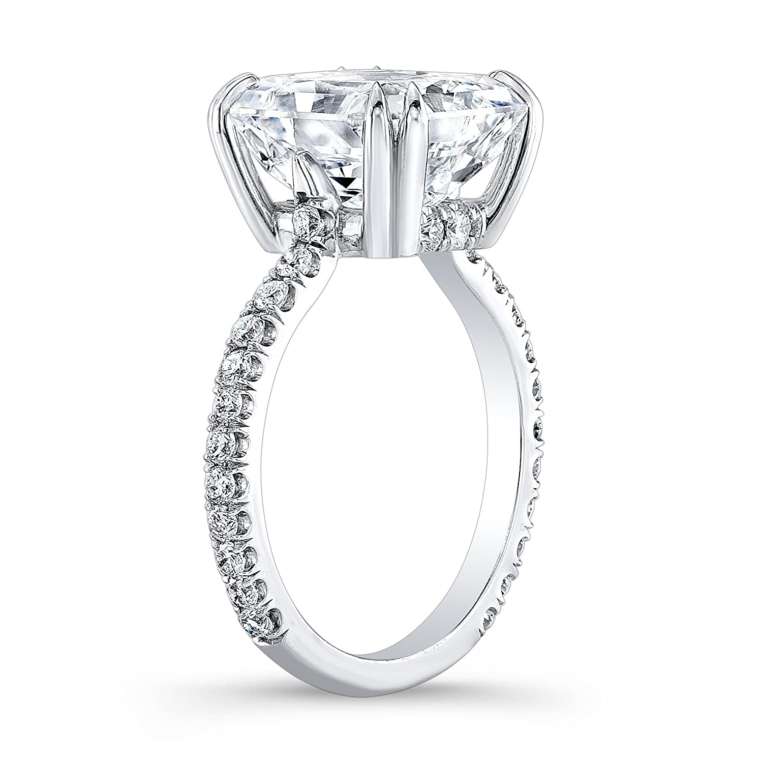 White sapphire cushion engagement ring with 2.50 carat Cushion White Sapphire Center and 0.30ctw G-VS2 diamonds
