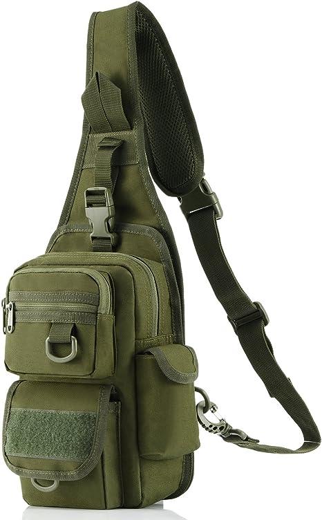 Tactical Sling Bag Pack con Pistola Holster, Militar Bolsa de Hombro Satchel, Gama Bolsa Mochila Mochila, Verde: Amazon.es: Deportes y aire libre