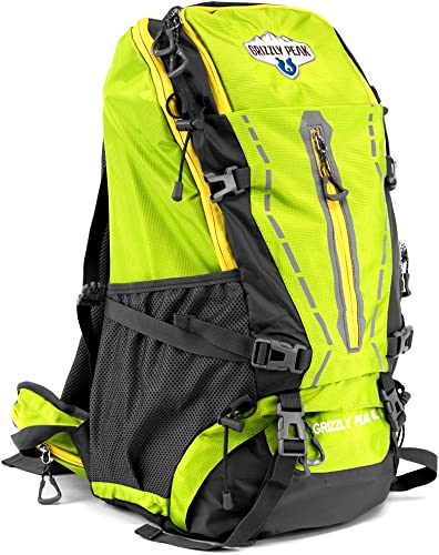 Grizzly Peak 45L Internal Frame Hiking and Camping Daypack Backpack with Ripstop Water-Resistant Nylon