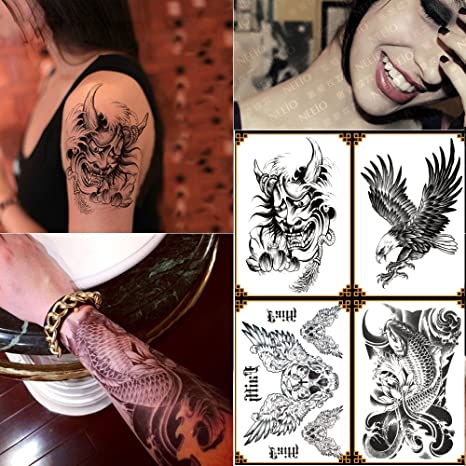 c1fd030acddb2 Buy Kotbs 4 Sheets Mix Temporary Tattoo Paper Body Sticker Fake Tattoos Art  Make up for Men Women Skull, Fish, Devil, Eagle Designs Online at Low  Prices in ...