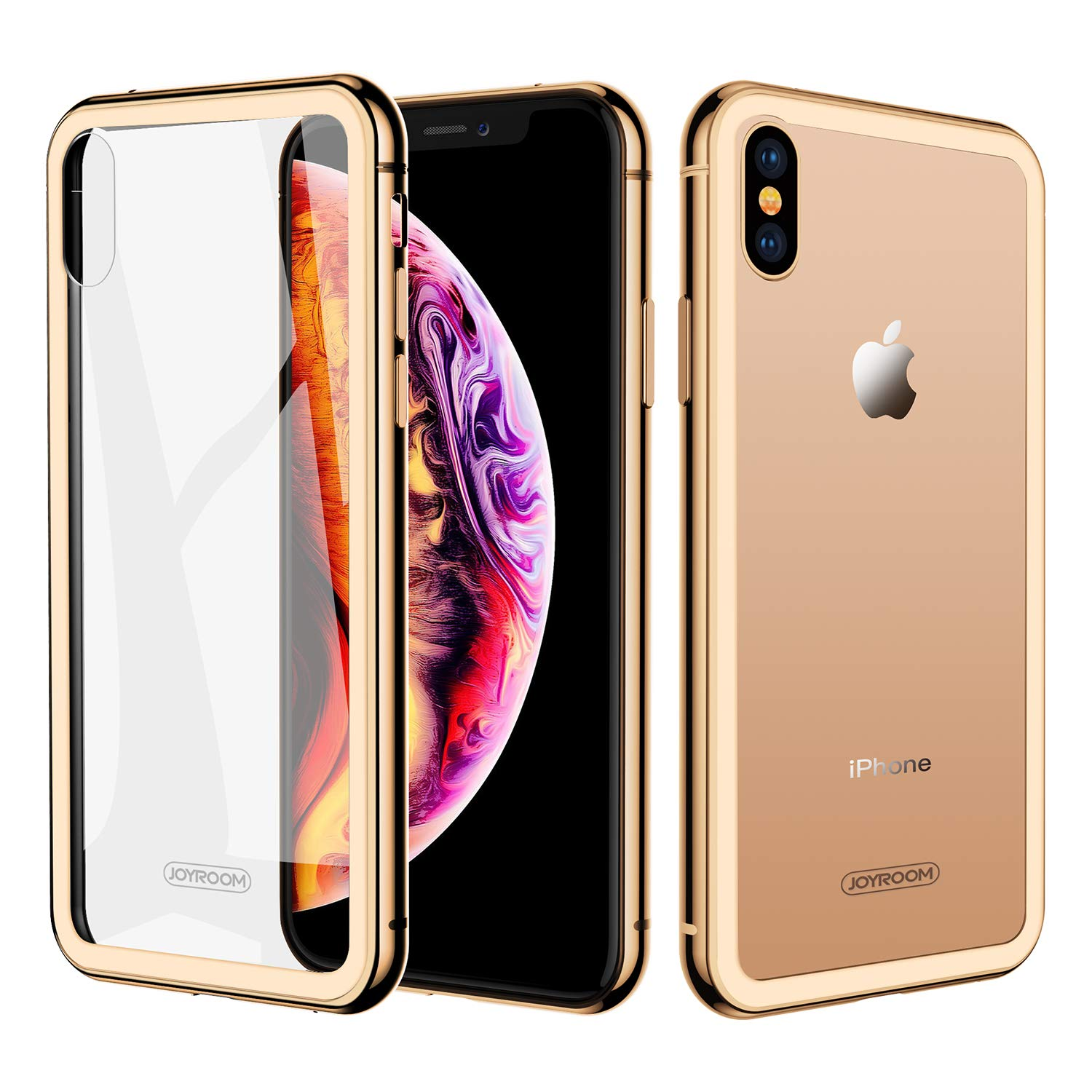 JOYROOM Crystal Clear Glass Case for iPhone Xs Max, Hard Slim Thin Metal Bumper with Soft TPU Inner Frame Case, Anti-Scratch 9H Glass Back Cover for iPhone 6.5 inch (Gold)