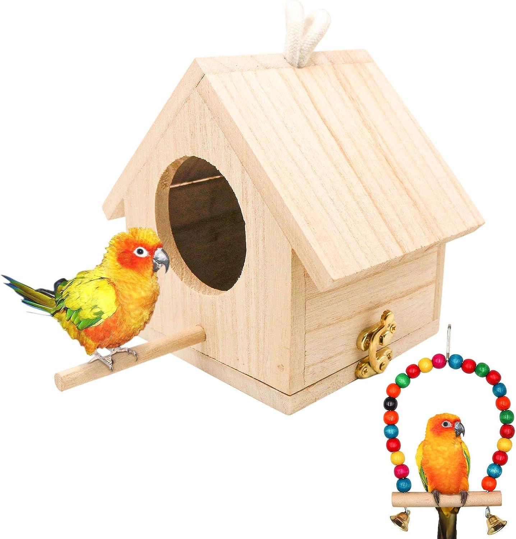 Wooden Bird House with Perch, Hanging Birdhouse for Outside, Natural Birdhouse Garden Patio Decoration Bird Nest for Hummingbird Wren Finch Sparrow Swallow