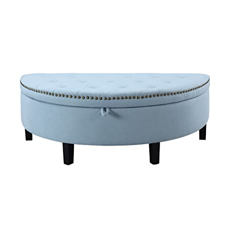 Blue Semi Circle Storage Ottoman With Button Tufted And Nail Head Trim Made  From Linen