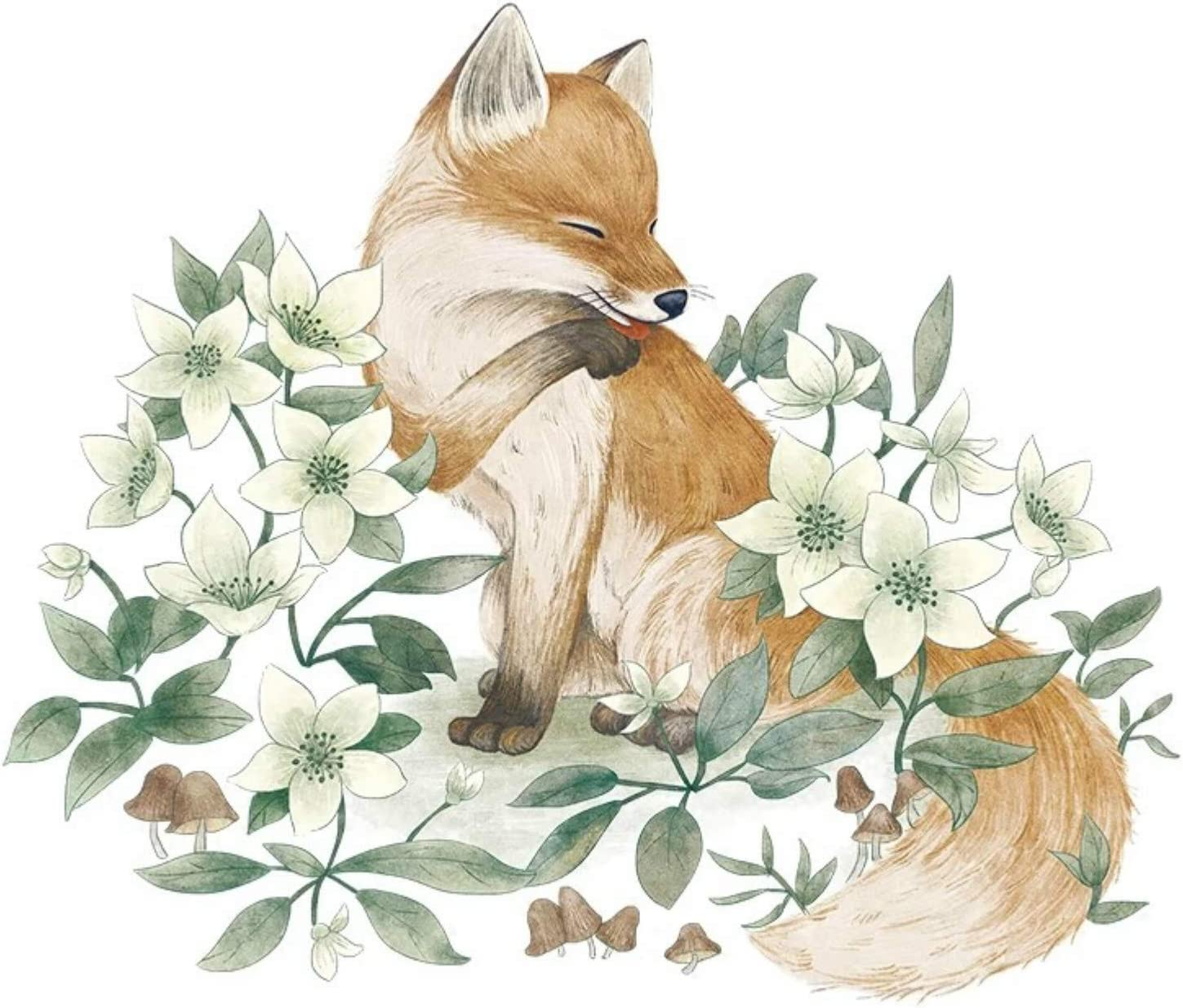 Cute Fox Wall Decal,Fox in The Flower Jungle Wall Stickers, Baby Room Wall Decor, Vinyl Wall Decals for Children Kids Boy Girl Bedroom Nursery Decor (Color 1)