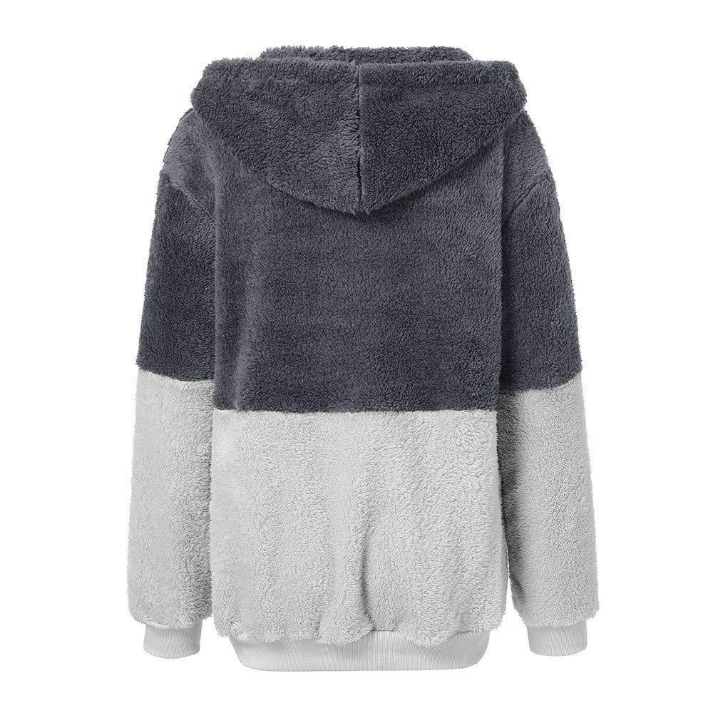 Aiserkly Women Jumpers Sweatshirt Hoodie Long Sleeve Zipper Pocket Hooded Loose Plus Size Drawstring Pullover Fuzzy Sweater Warm Outerwear