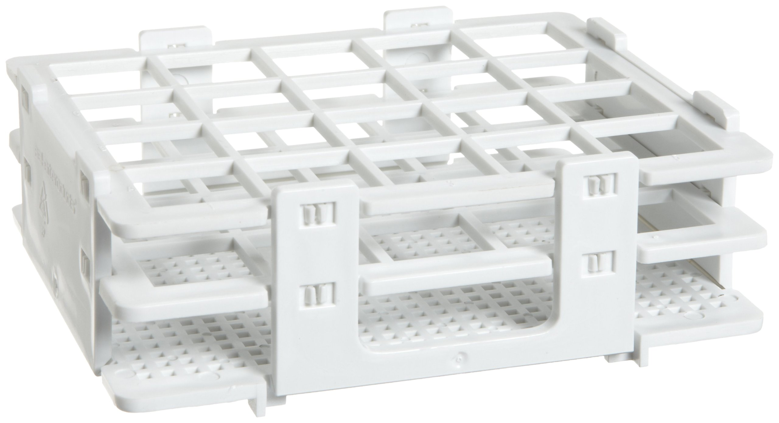 Bel-Art F18514-0020 No-Wire Bottle and Vial Rack; 16-20mm, 20 Places, 5.08 x 4.15 x 1.70 in., Polypropylene