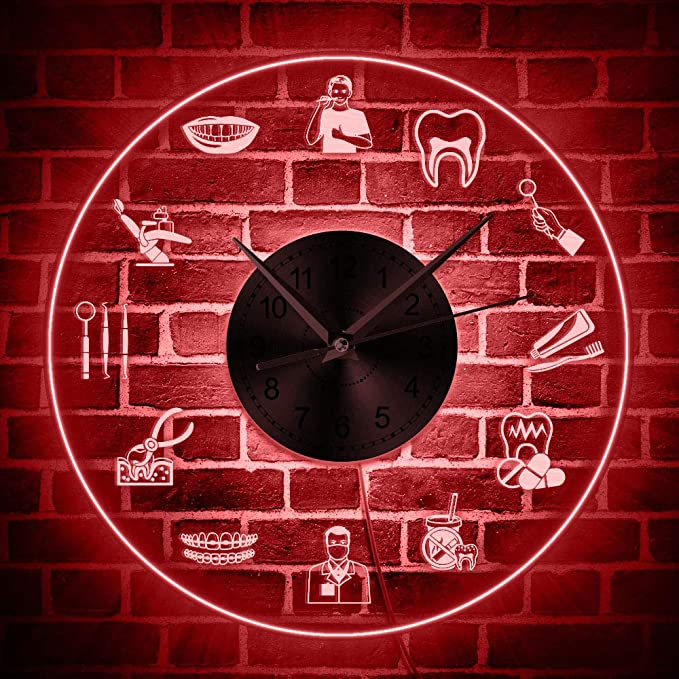 Reloj de pared neón con cambios de color