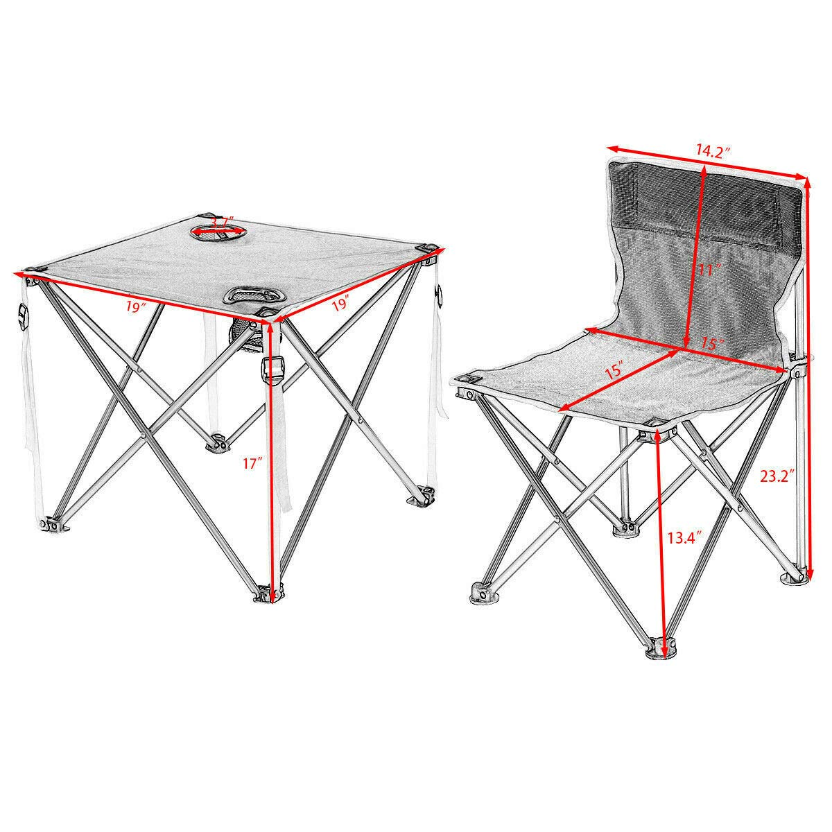 ANA Store Enjoy Barbecue Party Curl Stand Iron Stell Frame Green Oxford Portable Folding Table Chairs Set Inside Outside Camp Beach Picnic with Carrying Bag by ANA Store (Image #6)