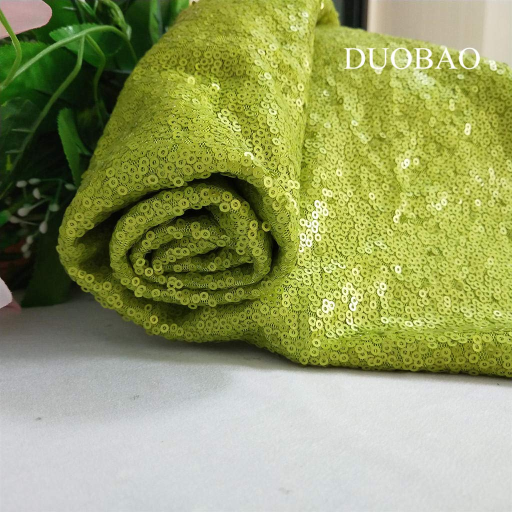 DUOBAO Lime Green Sequin Fabric for Sewing Glitter Backdrop Lime Green 10 Yards Sequin Material Fabric 2 Way Stretch Sequin Fabric by The Yard