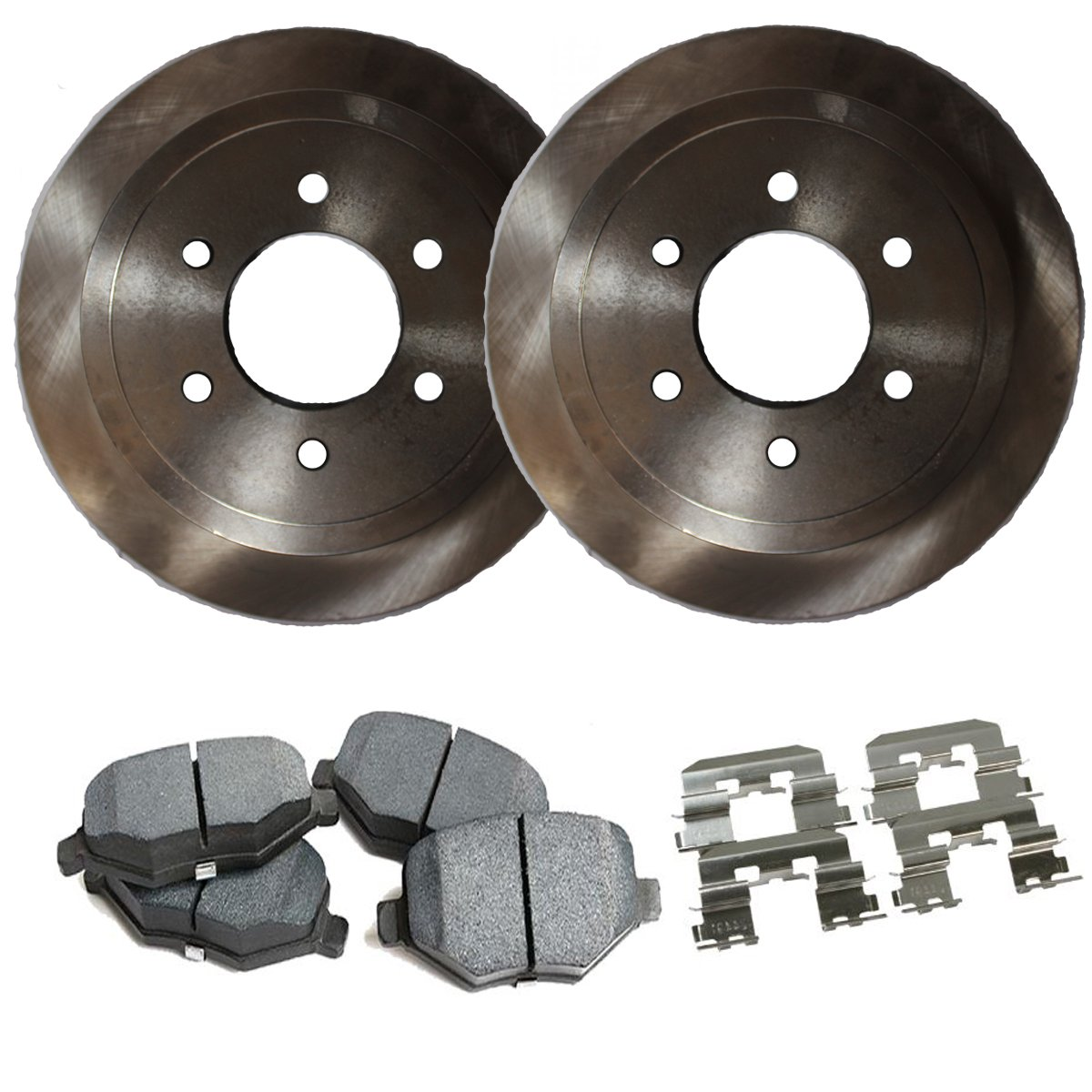 Detroit Axle - Complete Rear Brake Rotor Set & Brake Pads w/Clips Hardware Kit Premium GRADE for 2005-2011 Ford F-150 - [2006-2008 Lincoln Mark LT]