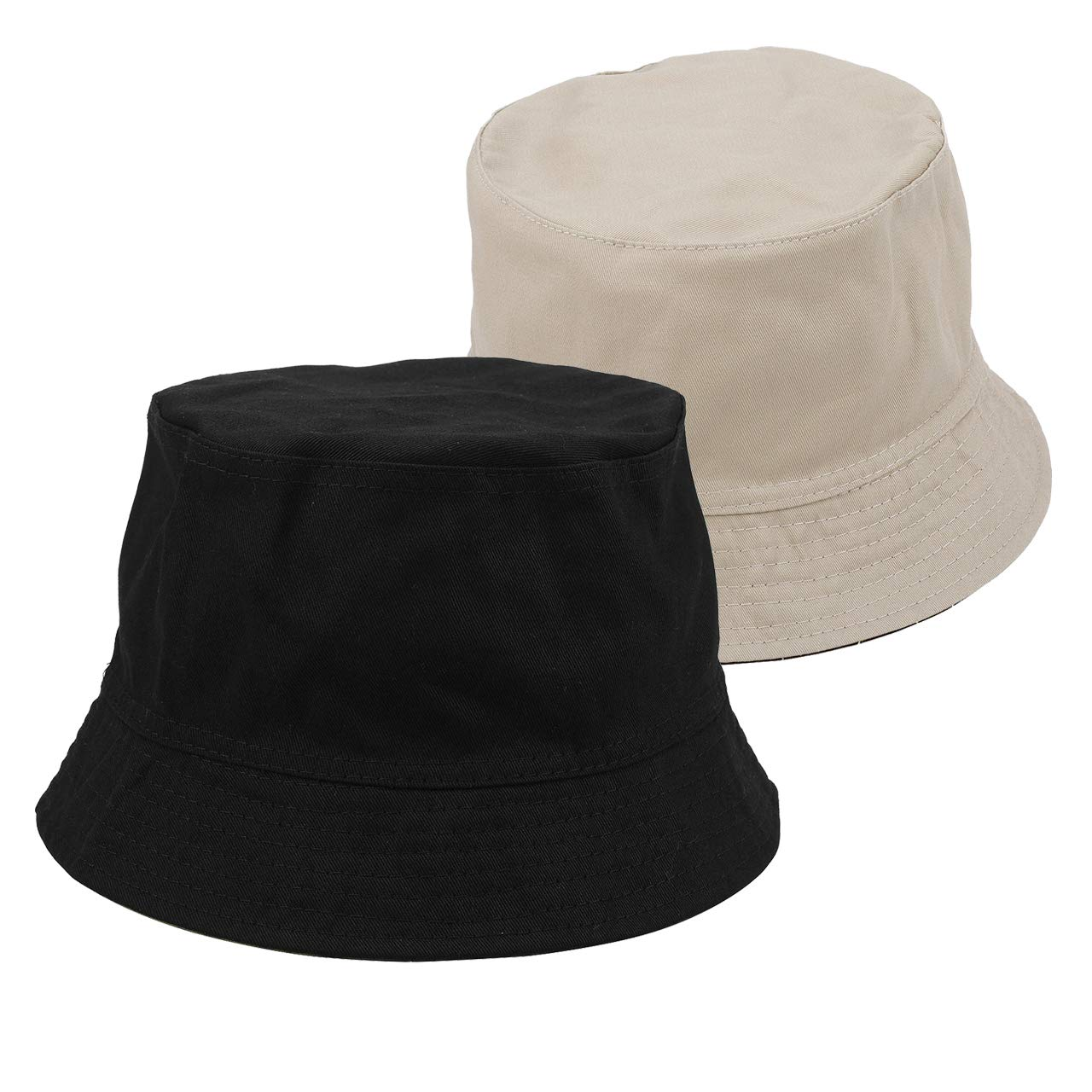 48a7a63b48f Amazon.com  Faleto Bucket Hat Boonie Hat Wide Brim Fishing Hat Reversible  Cotton Casual Plain Cap (Black)  Clothing