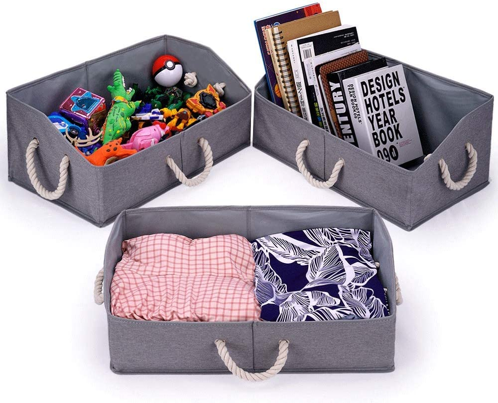 3-Pack Collapsible Trapezoid Cubical Storage Bins, Gray, Colapsable Decorative Cubicle Closet Organizers and Sorbus Cube Baskets for Organizing Toys, Cubby Hefty Containers Office for Stacking, Cubbie