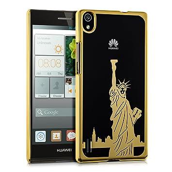 kwmobile Funda para Huawei Ascend P7 - Carcasa de plástico para móvil - Protector trasero en dorado / transparente