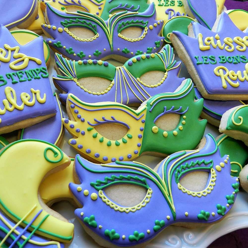 Mardi Gras / New Orleans Cookie Cutter Set - 4 piece - King Crown, Princess Crown, Mask and Fleur de Lis - Ann Clark - Tin Plated Steel by Ann Clark Cookie Cutters (Image #5)