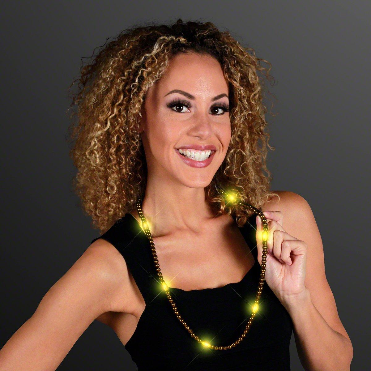 FlashingBlinkyLights Gold Light Up LED Mardi Gras Bead Necklaces (Set of 12)