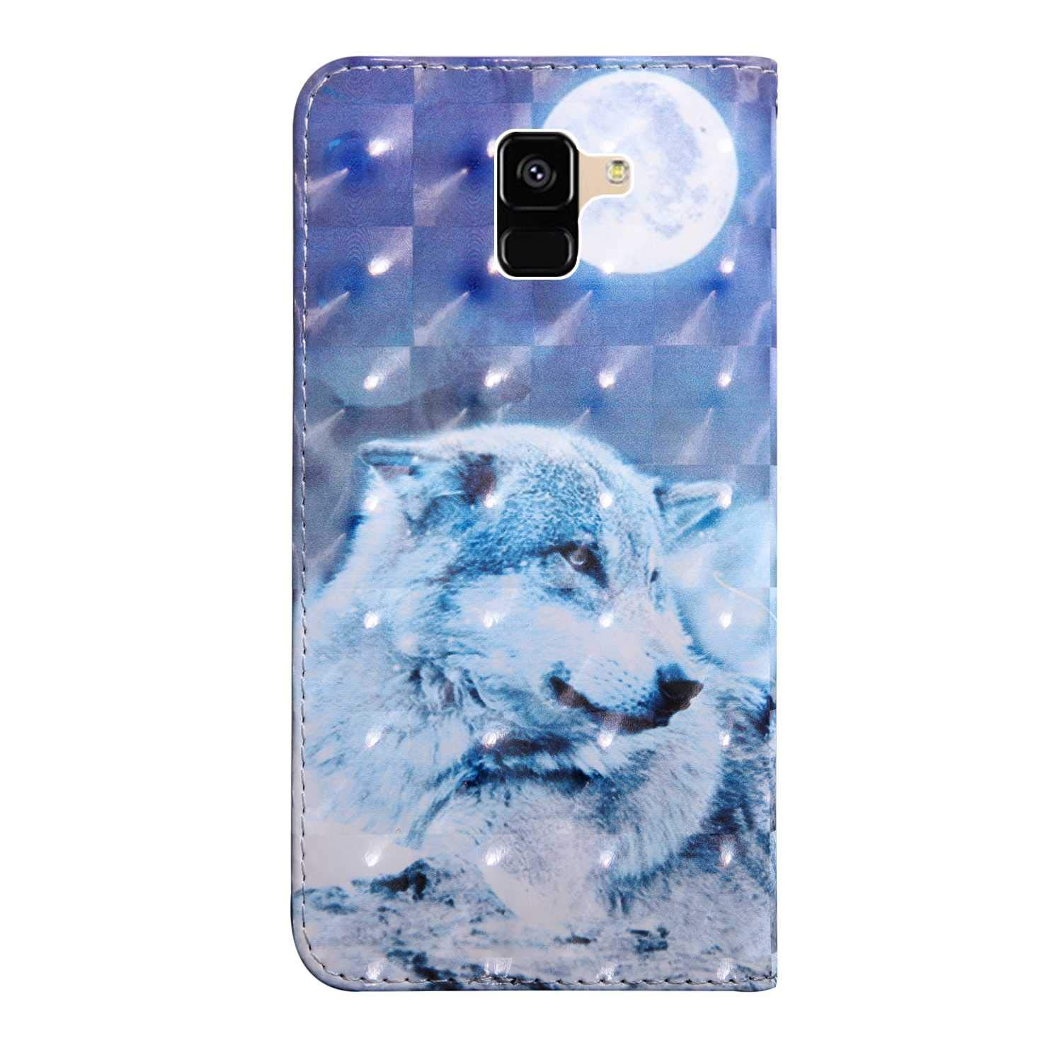 #7 Owl Bear Village Galaxy A8 Plus 2018 Case PU Leather Book Style Cover with Card Slots 3D Pattern Design Wallet Flip Case for Samsung Galaxy A8 Plus 2018