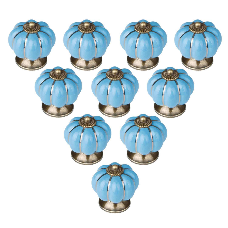 10pcs Ceramic Door Knobs, ANGGO Vintage Pumpkin knobs Cabinet Drawer Handles pulls for Cabinets, Cupboard Dresser, Drawers, Kitchen Furniture or Kids Room (Blue)