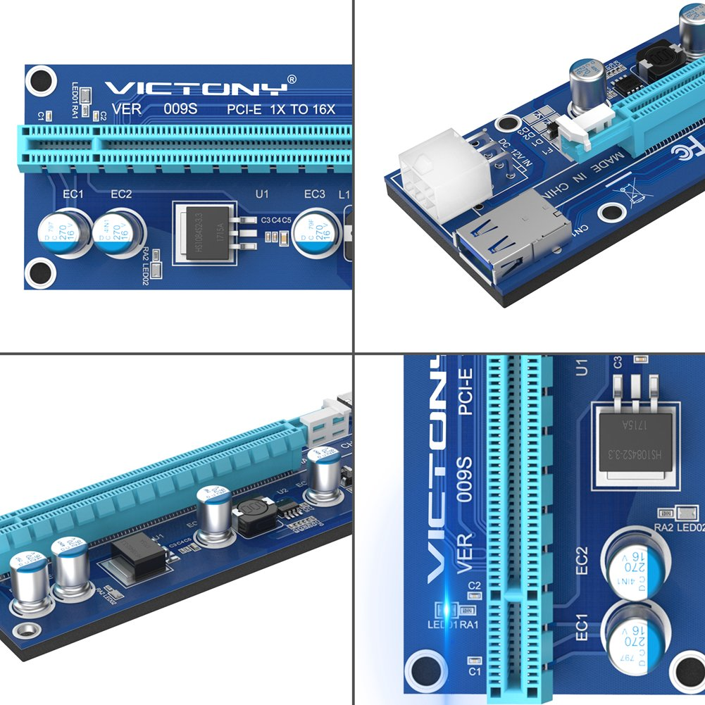 VICTONY 6Pin PCI-E Riser 6-Pack 1x to 16x Powered Riser Adapter Card With 23.6 inch USB 3.0 Extension Cable & 6 Pin PCI-E to SATA Power Cable-GPU Riser Adapter-Ethereum Mining ETH+MintCell 6 Cable Tie by VICTONY (Image #5)