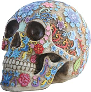 Summit Collection Day Of The Dead Colorful Floral Sugar Skull Head Home Decor Home Kitchen Amazon Com