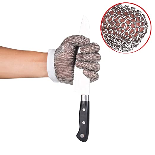 ThreeH Guantes resistentes al corte Acero Inoxidable 304L Malla de alambre para cortar Rebanar El cortar Procesamiento de carne GL08 S(1 pieza)