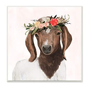 The Stupell Home Décor Collection Springtime Flower Crown Long Ear Baby Goat Wall Plaque Art, 12 x 12, Multi-Color