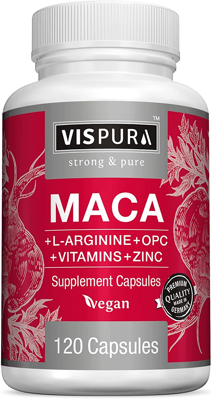 Maca Root Capsules 5000 mg + L-Arginine, Vitamins B6 + B12, OPC and Zinc, Energy Boosting Formula* for Men and Women, 120 Vegan Tablets with Organic Maca Peruana Extract