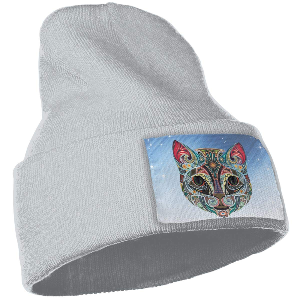 Painted Cat Hat for Men and Women Winter Warm Hats Knit Slouchy Thick Skull Cap
