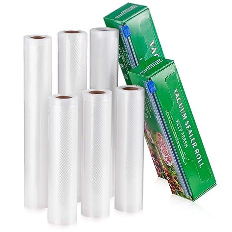 Rollos de Sellador al Vacío con Caja Cúter 6 Paquete 20cm x 300cm y 28cm x 300cm Bolsas de Almacenamiento de Comida Bolsa de Grado Comercial para ...