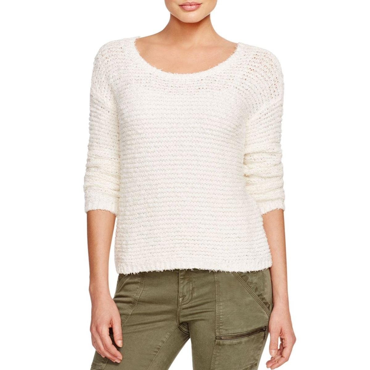 Joie Womens Anais Fringe Cotton Pullover Top Ivory XS by Joie