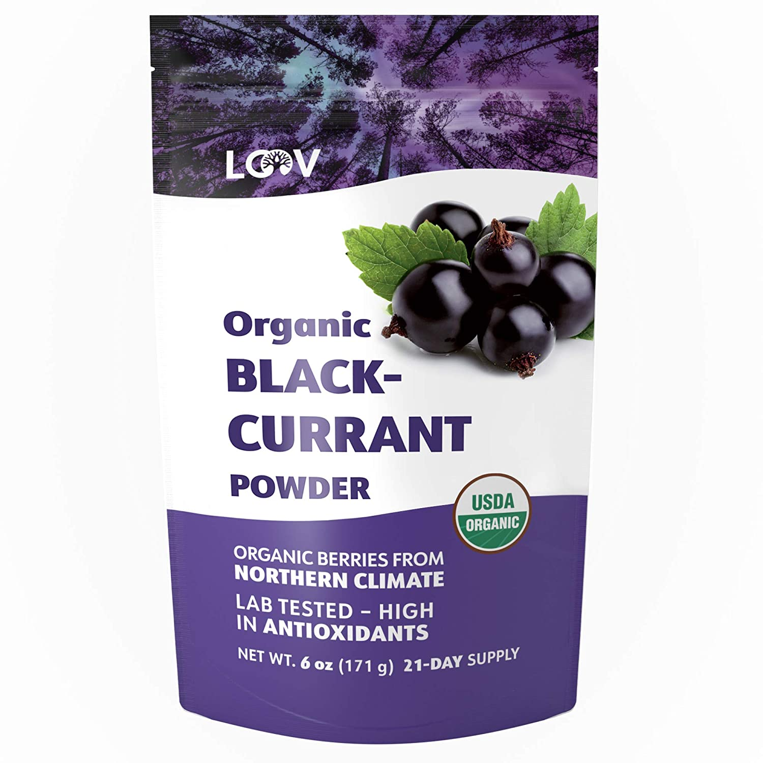 Blackcurrant Powder Organic, Rich in Anthocyanin and Vitamin C, Made from 100% Whole Blackcurrants, Freeze-Dried, 6 oz, Raw, Grown in Northern Europe, 21-Day Supply, USDA/EU Certified Organic