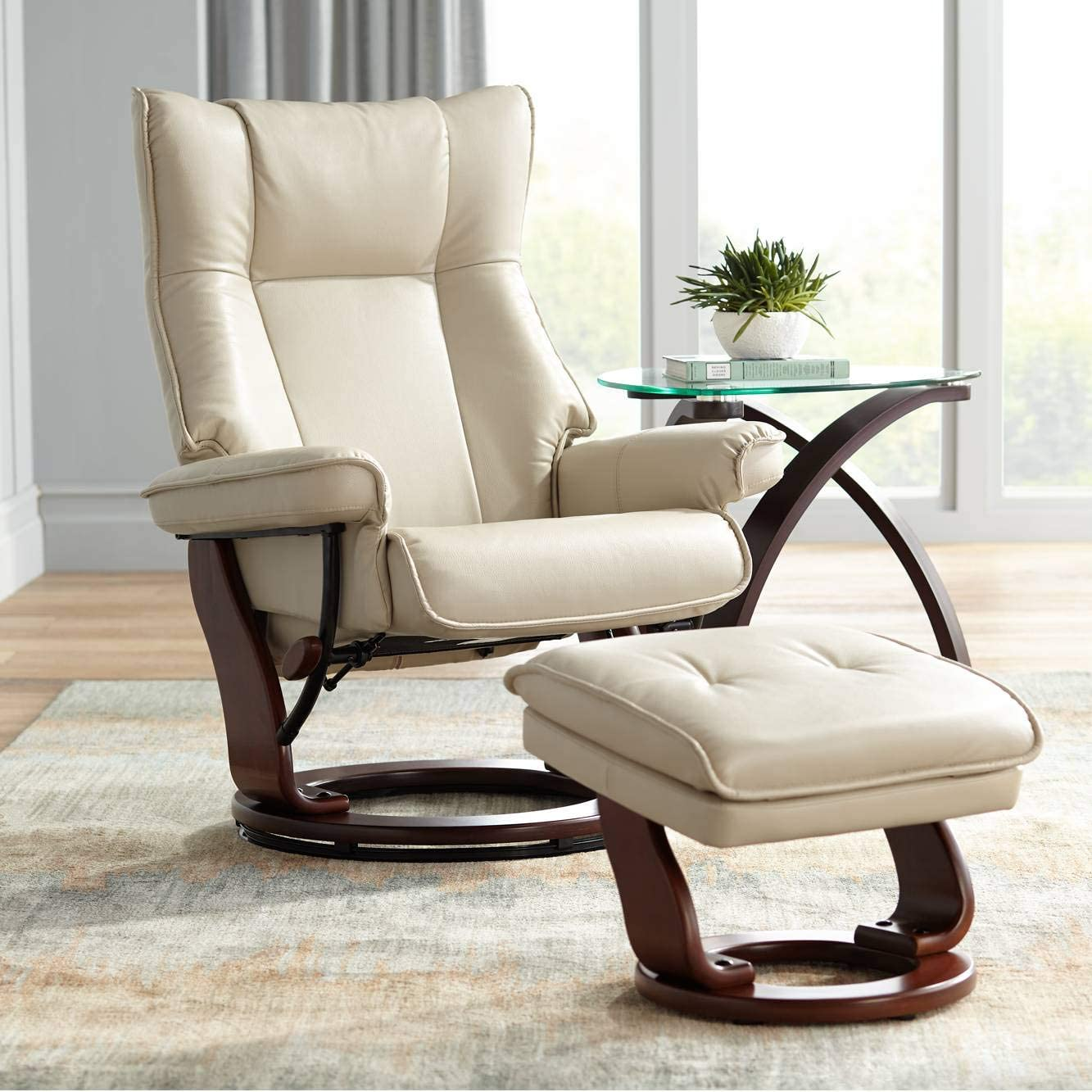 Morgan Stucco Faux Leather Ottoman and Swiveling Recliner