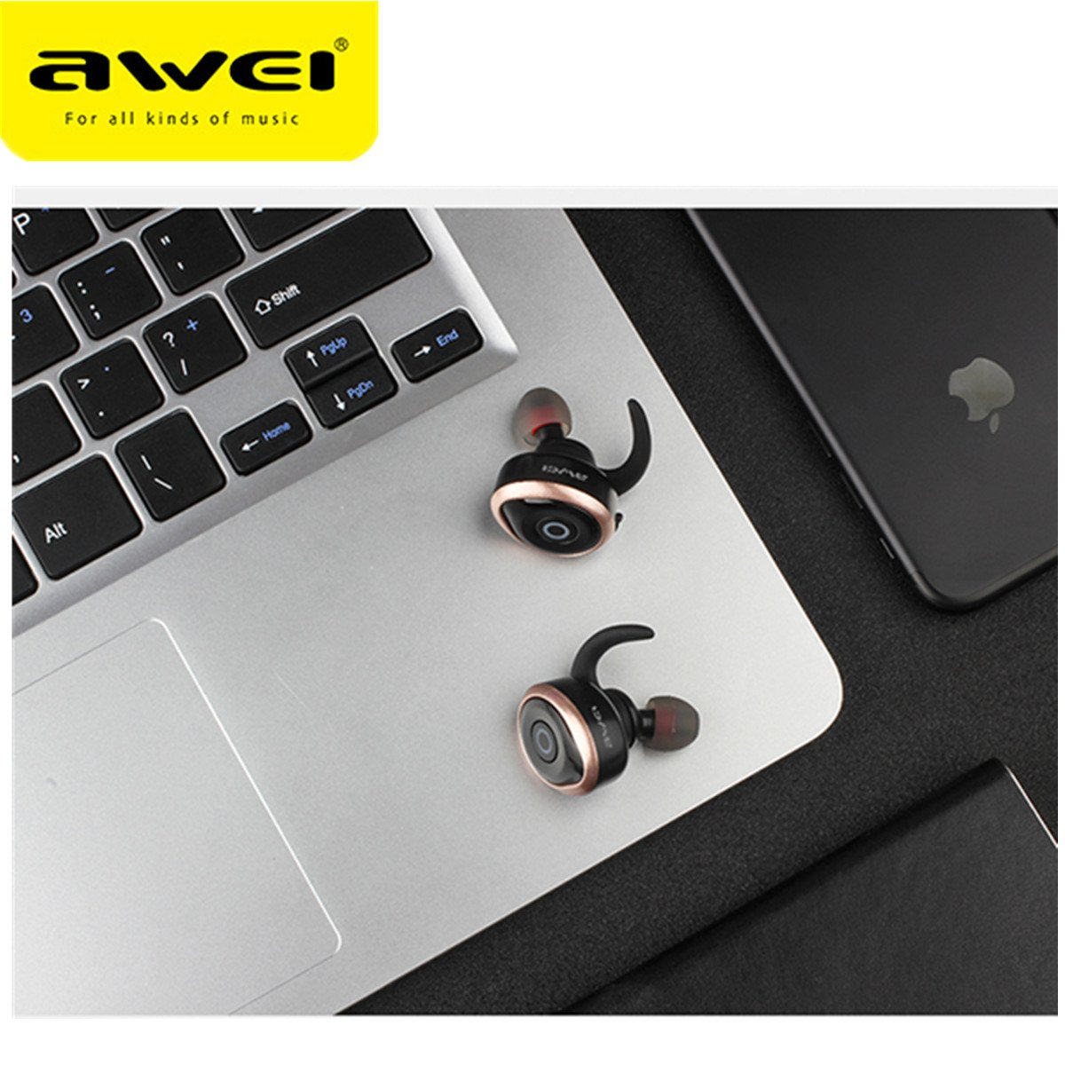 Awei T1 Single/Pairs Ture Wireless Get Rid Of Wire Binding earbuds, One Button Operation Bluetooth V4.2 Waterproof IPX4 Sport Headphones for Running Gym Exercise Hands-free Calling for iphone7(Gold) by AWEI (Image #6)