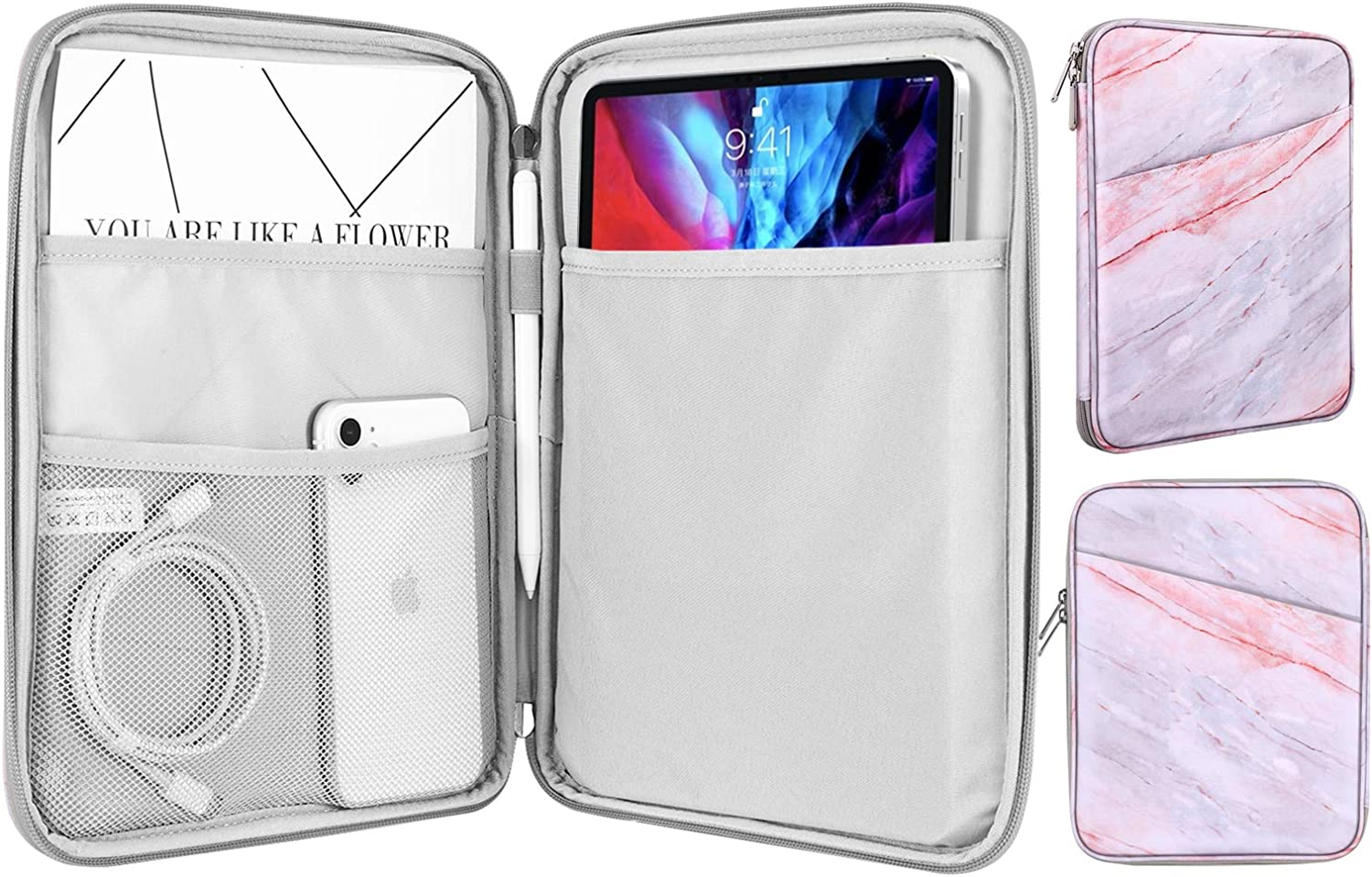 MoKo Sleeve Bag for 9-11 Inch Tablet, Protective Bag Carrying Case with Pocket Fits with iPad Pro 11 2021/2020/2018, iPad 8th 7th Generation 10.2, iPad Air 4 10.9, iPad 9.7, Pink Gray Marble