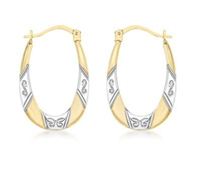 Carissima Gold 9 ct 2 Colour Gold Patterned Creole Earrings ahNI5