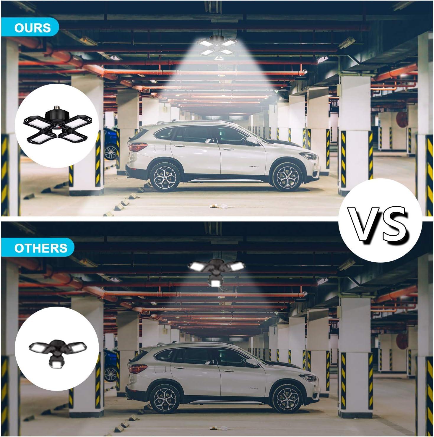 Yepran 120W LED Garage Lights,12000Lm 6000K E26 Four-Leaf Deformable LED Garage Ceiling Light for Garage Warehouse Workshop