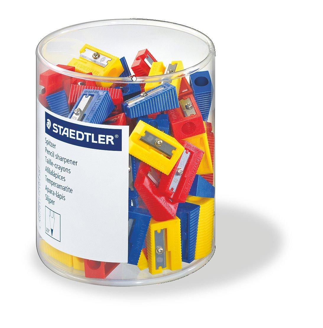 Staedtler 51050KP100 Spitzer f/ür Bleistifte farblich sortiert 100 St/ück in K/öcherverpackung