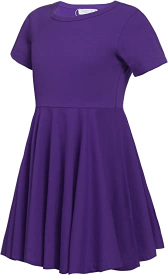 Girls Dress Short Sleeve A Line Swing Skater Twirly Hem Dress
