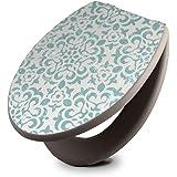 banjado Design Toilettensitz in Taupe | WC-Sitz Holz MDF 42,3x3,5x37,5cm | Klodeckel mit Edelstahl Scharnieren | Toilettendeckel mit Motiv Muster Getupft Blau