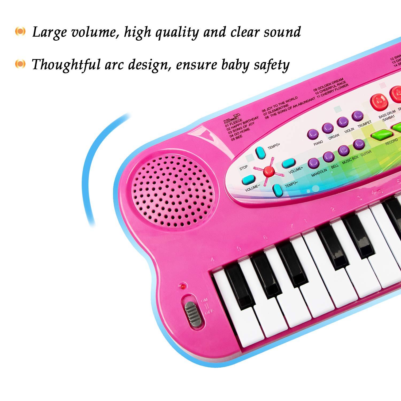 JINRUCHE Kids Piano, 32 teclas multifunción, teclado de piano electrónico para niños pequeños con micrófono (Rojo): Amazon.es: Instrumentos musicales