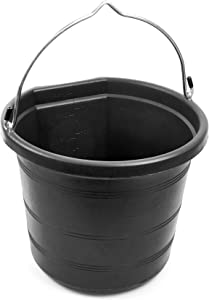 Tuff Stuff Products KMC-FB100 5 Gallon Flatback Impact Resistant Mop Water Feed Grain Fertilizer Hanging Carry Bucket Tank, Black