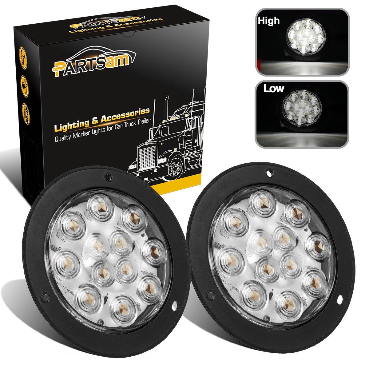 "Amazon.com: Partsam 2PCS 4"" Waterproof Backup Reverse light Flange Mount 12  LED Truck Trailer RV White: Automotive"