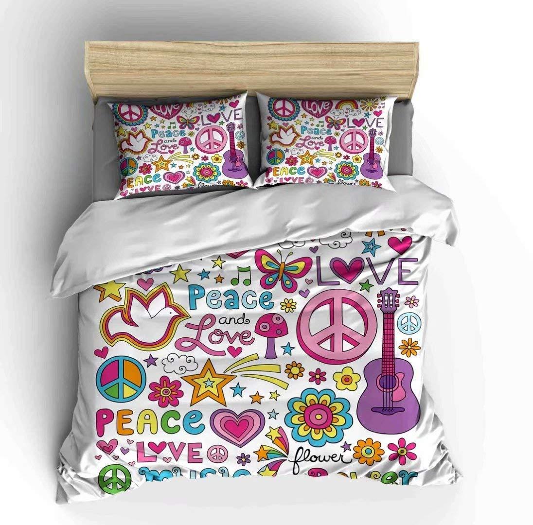 SHOMPE 子供用 ピースサイン 寝具セット ツインサイズ カラフルな花 柔らかい掛け布団カバー3点セット 枕カバー2枚付き ティーンズ 男の子 女の子 寝室 装飾用 掛け布団なし クイーン B07Q5NCKWV Peace-02 クイーン
